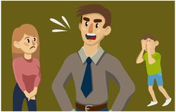 A man yells at his wife and son. Family conflict stock illustration