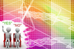 Man With Yes Or No People Illustration Royalty Free Stock Photos