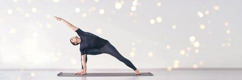 Man In Yoga Asana Home Studio One Person Stock Photo Image Of Flexible Exercise 183539602