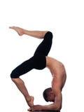 Man yoga Eka Pada Viparita Dandasana pose Royalty Free Stock Images