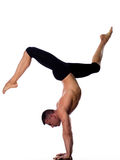Man yoga handstand full length gymnastic Stock Image