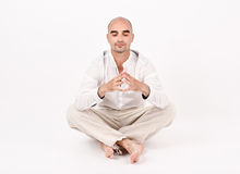 Man in yoga position. Stock Images