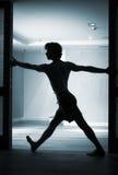 Man yoga teacher practice Stock Photo