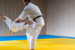 Man and young boy are training judo. Throwing stock photo
