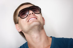 Man young handsome athlete with sunglasses Royalty Free Stock Photos