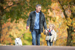 Man With Young Son Walking Dog. Through Autumn Park Stock Photography