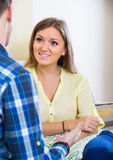 Man and young woman chatting Stock Image