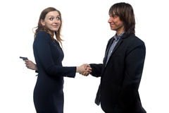 Man and young woman with the gun Royalty Free Stock Images
