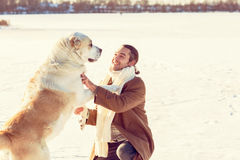 Man with your dog Stock Photo