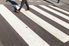 Man On A Zebra Crossing Royalty Free Stock Images