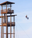 A Man on the Zip Line, Out of Africa Royalty Free Stock Photography