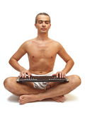 Man18. Man on white background in yoga position Royalty Free Stock Photo