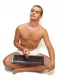 Man28. Man on white background in yoga position stock photos
