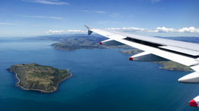 Mana Island from plane window over New Zealand Royalty Free Stock Images