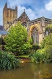Mana la catedral, Somerset, Inglaterra Imagenes de archivo