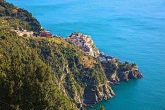 Manarola Cinque Terre Italy. Cliff side fishing town in Cinque Terre Italy Stock Photos