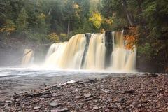 Manabezho Falls on the Presque Isle River in the Upper Peninsula Stock Photos