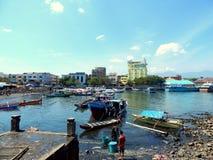 Manado harbor and fisherman boats Stock Images
