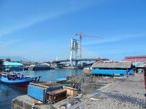 Manado harbor and unfinished bridge Royalty Free Stock Image