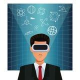 Manaffär som bär ökad verklighetapparatbakgrund stock illustrationer