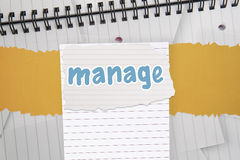 Manage against digitally generated notepad with lined paper Stock Images