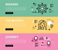 Manage the Buyers Journey. Web banners  set Stock Photo