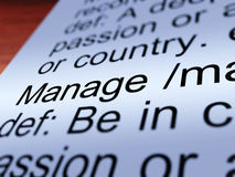 Manage Definition Closeup Showing Management Royalty Free Stock Photo