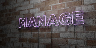 MANAGE - Glowing Neon Sign on stonework wall - 3D rendered royalty free stock illustration Royalty Free Stock Image