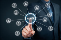 Manage management. Manager click on button with text manage. Managerial business concept Royalty Free Stock Photo