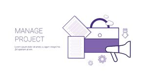 Manage Project Business Concept Template Web Banner With Copy Space. Vector Illustration Royalty Free Stock Photos