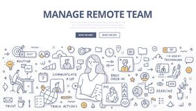 Free Manage Remote Team Doodle Concept Stock Photography - 188171512