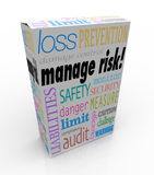 Manage Risk Package Box Security Safety Limit Liability Loss. Manage Risk words on a product, box or package to illustrate a service that you can buy to limit Royalty Free Stock Photography