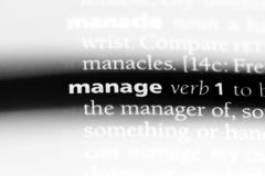 Manage. Word in a dictionary.  concept stock photos