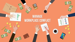 Manage workplace conflict in a meeting illustration with money, paperworks and coins on top of table. Vector Stock Image