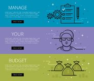 Manage Your Budget. Flat line vector web banners set Royalty Free Stock Image