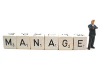Manage your business. A manager taking care of business royalty free stock photography