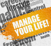 Manage Your Life on the White Brickwall. Education Service Concept: Manage Your Life - on the White Brick Wall with Wordcloud Around. Modern Illustration Royalty Free Stock Photos
