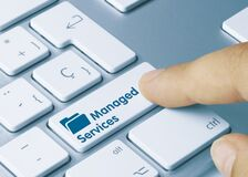 Free Managed Services - Inscription On Blue Keyboard Key Stock Images - 183518704
