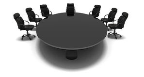 Managemenet table. Black table in conference room Royalty Free Stock Photo