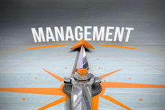 Management against bleached wooden planks background Royalty Free Stock Photo