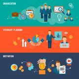 Management Banner Set. Management horizontal flat banner set with organization visionary planning motivation elements  vector illustration Royalty Free Stock Photo