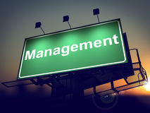 Management - Billboard on the Sunrise Background. Royalty Free Stock Photos