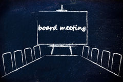 Management board meeting room with whiteboard Royalty Free Stock Photo