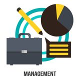 Management Business Concept Vector Design - Suitcase, Diagram And Pencil Presentation Stock Images