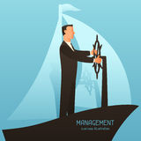 Management business conceptual illustration with businessman leading ship. Image for web sites, articles, magazines Stock Photos