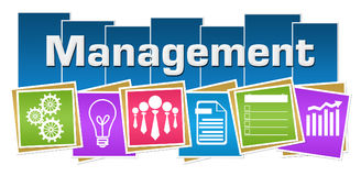 Management Business Symbols Colorful Squares Stripes. Management concept image with text and related symbols Stock Photo