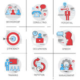 Management Business Team Leadership Icon Set Occupation Training. Speech Potential Collection Vector Illustration Royalty Free Stock Photos