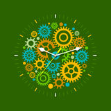Management Clock Concept. Time management concept with mechanical watches. Flat design illustration in green colors Stock Photos