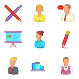 Management of a company icons set, cartoon style. Management of a company icons set. Cartoon set of 9 management of a company vector icons for web isolated on Royalty Free Stock Photo