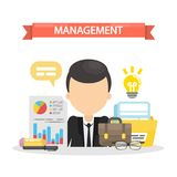 Management concept illustration. Man with ideam documents and data Stock Images